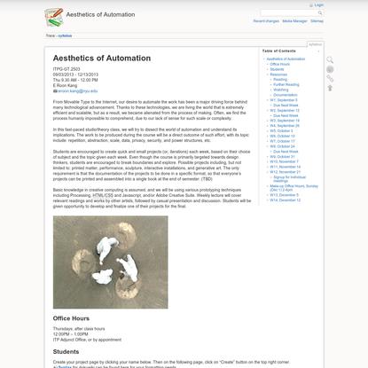 syllabus [Aesthetics of Automation]