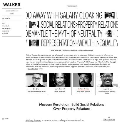 Museum Resolution: Build Social Relations Over Property Relations