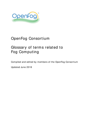 Fog Computing – Glossary of terms