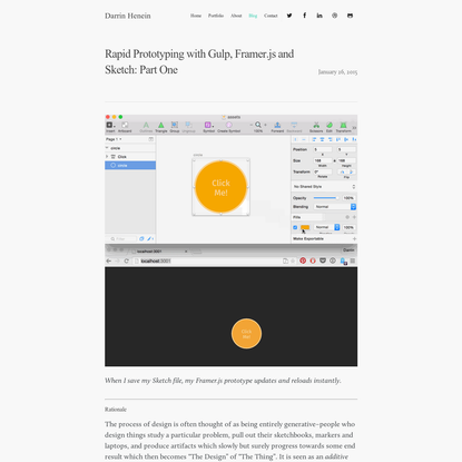 Rapid Prototyping with Gulp, Framer.js and Sketch: Part One