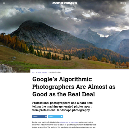 Google's Algorithmic Photographers Are Almost as Good as the Real Deal