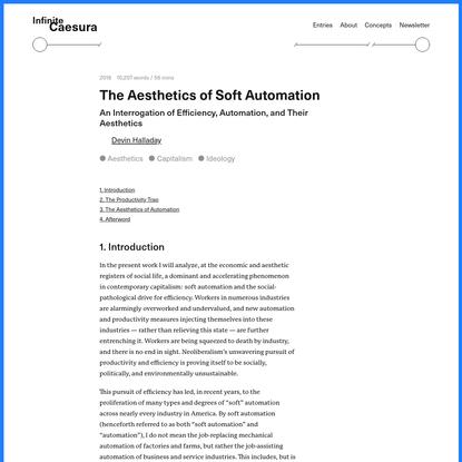 The Aesthetics of Soft Automation - Infinite Caesura