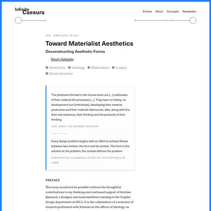 Toward Materialist Aesthetics - Infinite Caesura