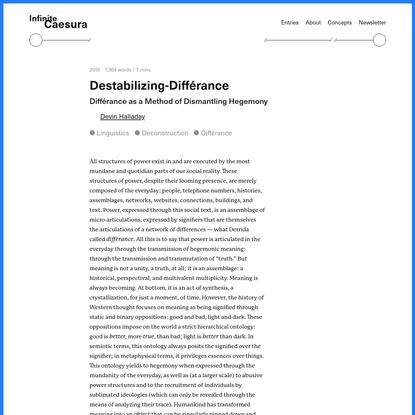 Destabilizing-Différance - Infinite Caesura