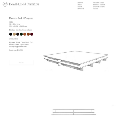 Plywood Bed 87-square   Donald Judd Furniture