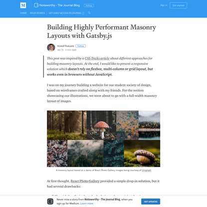 Building Highly Performant Masonry Layouts with Gatsby.js
