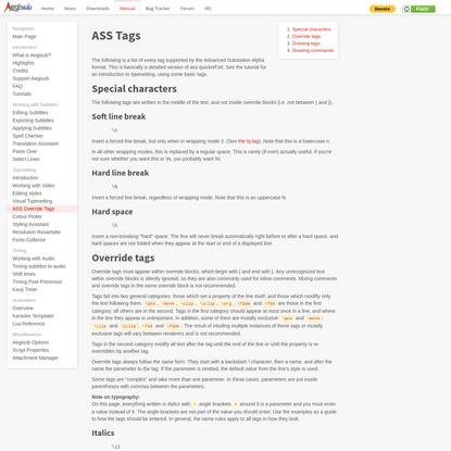 ASS Tags - Aegisub Manual
