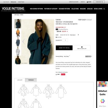 V8930 | Misses' Oversized Shawl Collar Jackets Sewing Pattern | Vogue Patterns