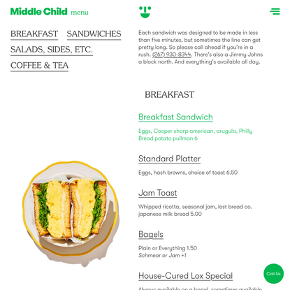 Menu — Middle Child