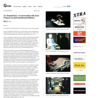 Les Immatériaux: A Conversation with Jean-François Lyotard and Bernard Blistène | Art Agenda