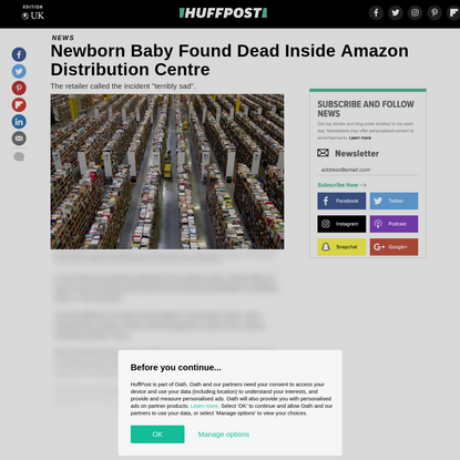 Newborn Baby Found Dead Inside Amazon Distribution Centre