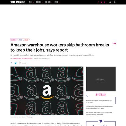 Amazon warehouse workers skip bathroom breaks to keep their jobs, says report