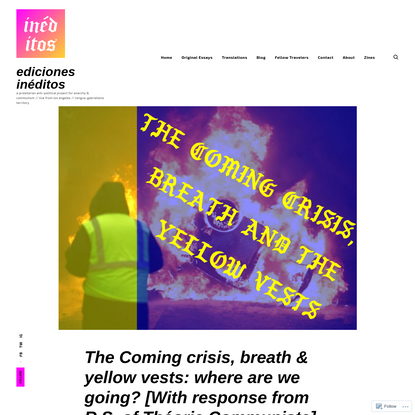 The Coming crisis, breath & yellow vests: where are we going? [With response from R.S. of Théorie Communiste]