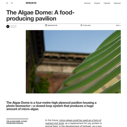The Algae Dome: A food-producing pavilion - SPACE10