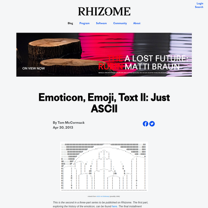 Emoticon, Emoji, Text II: Just ASCII
