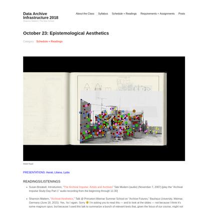 October 23: Epistemological Aesthetics