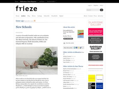 Frieze Magazine   Archive   New Schools