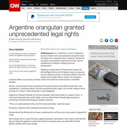 Argentine orangutan granted unprecedented legal rights - CNN.com