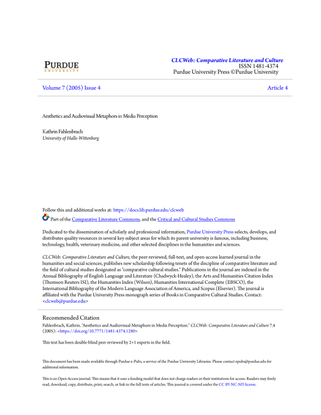 Aesthetics and Audiovisual Metaphors in Media Perception