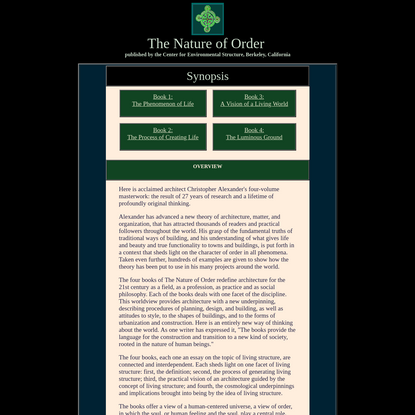 OVERVIEW OF THE NATURE OF ORDER