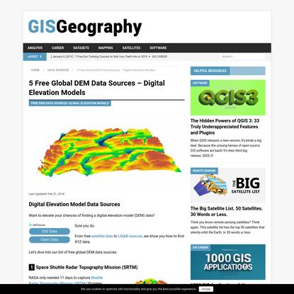 5 Free Global DEM Data Sources - Digital Elevation Models - GIS Geography