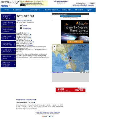 Technical details for satellite INTELSAT 604