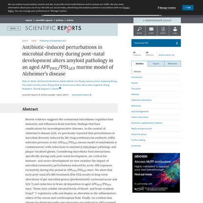 Antibiotic-induced perturbations in microbial diversity during post-natal development alters amyloid pathology in an aged AP...