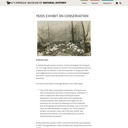 1920s Exhibit on Conservation - Carnegie Museum of Natural History