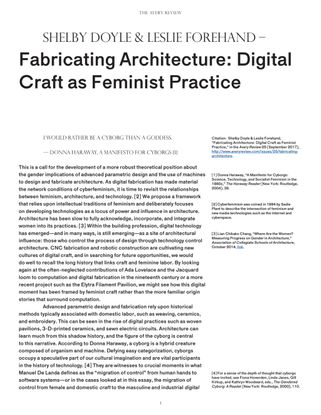 """Shelby Doyle + Leslie Forehand, """"Fabricating Architecture: Digital Craft as Feminist Practice"""""""