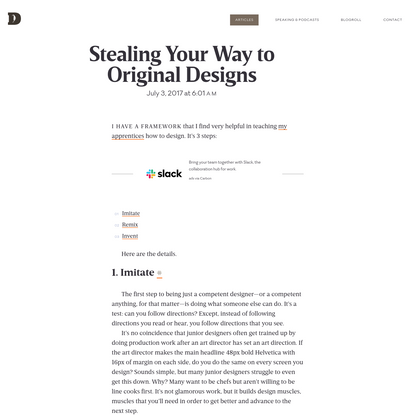 Stealing Your Way to Original Designs