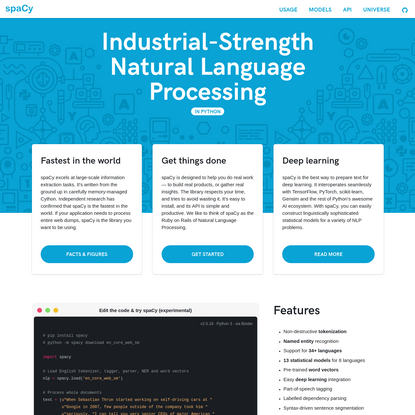 spaCy · Industrial-strength Natural Language Processing in Python