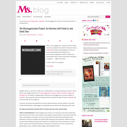 The Microaggressions Project: An Interview with Vivian Lu and David Zhou - Ms. Magazine Blog