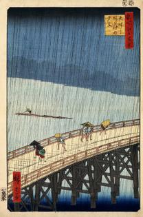 Hiroshige — Rain Shower above the Great Bridge at Atake (1857)