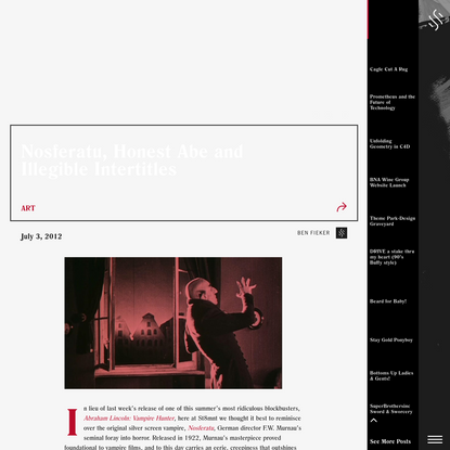Nosferatu, Honest Abe and Illegible Intertitles - ST8MNT BRAND AGENCY