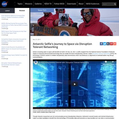 Antarctic Selfie's Journey to Space via Disruption Tolerant Networking