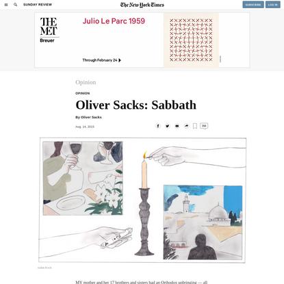 Opinion | Oliver Sacks: Sabbath