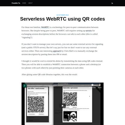 Serverless WebRTC using QR codes