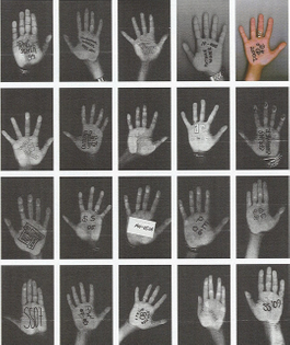 As house tradition, a member of the Maison Martin Margiela team xeroxes their hand each season to represent the collection.  Pictured: Spring/Summer 1999 - Spring/Summer 2009