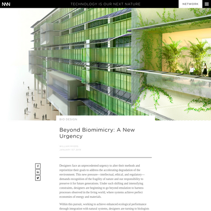 Beyond Biomimicry: A New Urgency