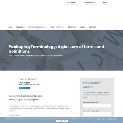 Packaging Terminology: A Glossary of Terms and Definitions | GWP Group