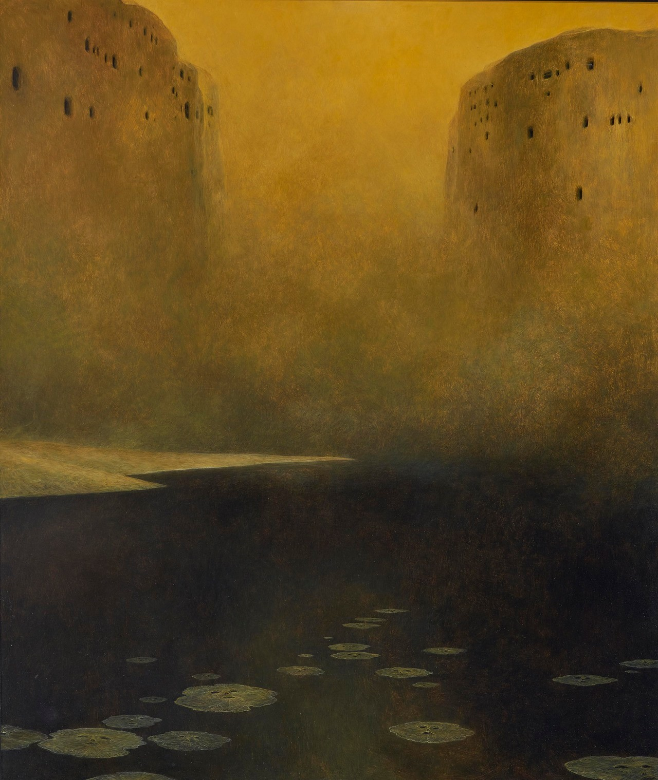 Zdzisław Beksiński (Polish, 1929-2005, b. Sanok, Poland) - Untitled (Landschaft), 1978  Paintings: Oil on Hardboard