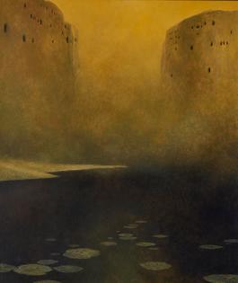 Zdzisław Beksiński (Polish, 1929-2005, b. Sanok, Poland) - Untitled (Landschaft), 1978  Paintings: Oil on Hardboard