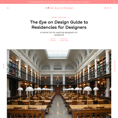The Eye on Design Guide to Residencies for Designers