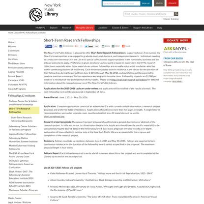 Short-Term Research Fellowships