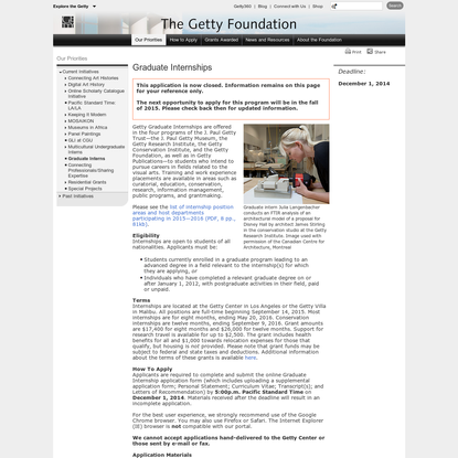 Graduate Internship Program (Getty Foundation)