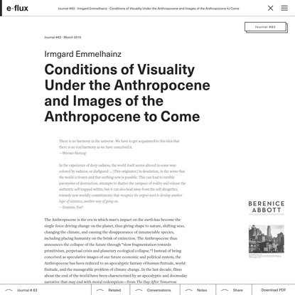 Conditions of Visuality Under the Anthropocene and Images of the Anthropocene to Come