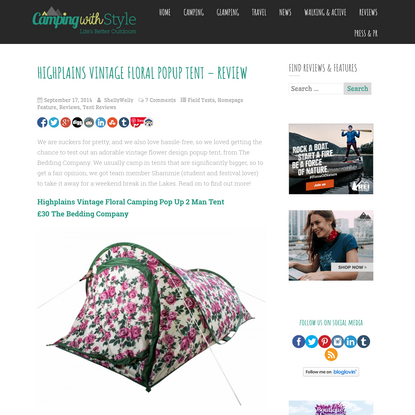 Highplains Vintage Floral Camping Pop Up 2 Man Tent Review