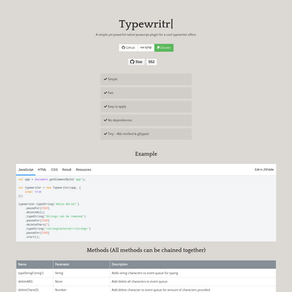 Typewriter JS - A simple yet powerful native javascript plugin for a cool typewriter effect.