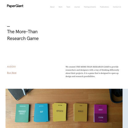 The More-Than Research Game - Paper Giant