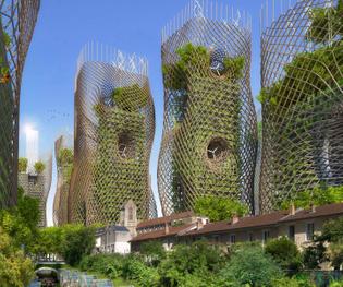 Vincent Callebaut Architectures, projet des tours de Massena, Paris XII